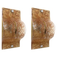 Pair of Italian Midcentury Caramel Murano Wall Sconces by Mazzega, 1970s