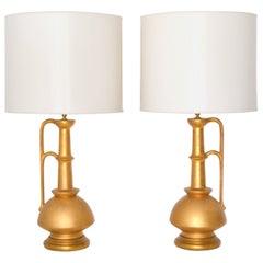 Pair of Italian Midcentury Ceramic Jar Form Table Lamps
