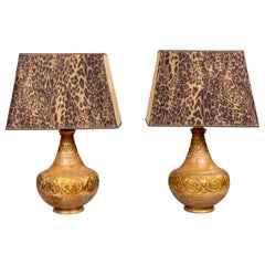 Pair of Italian Midcentury Ceramic Lamps with Leopard Print Shades