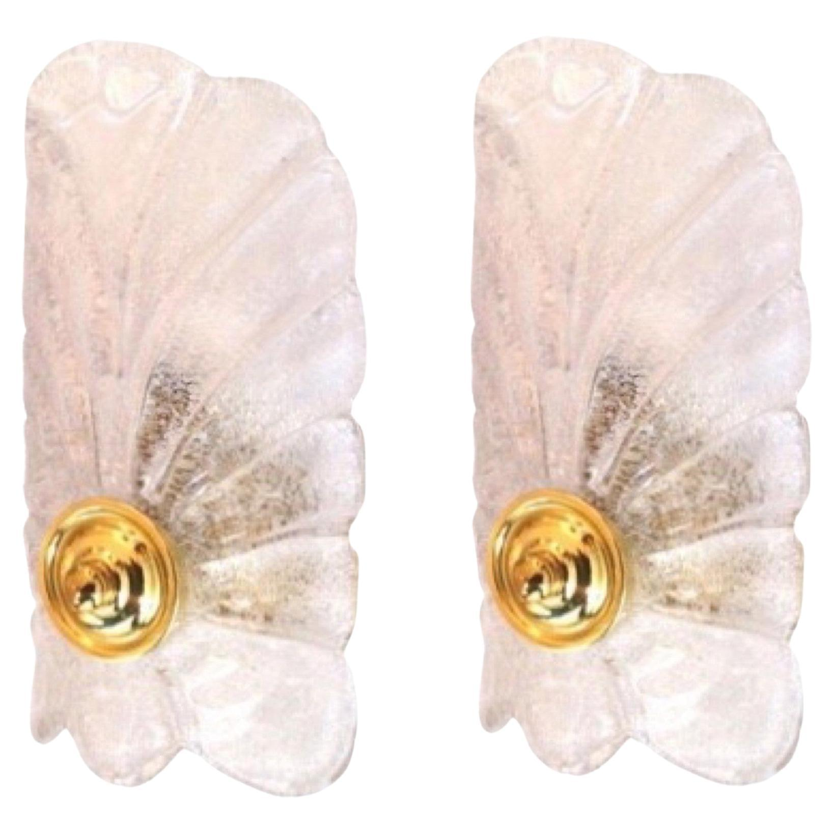 Pair of Italian Midcentury Clear Murano Glass Wall Sconces, 1960s
