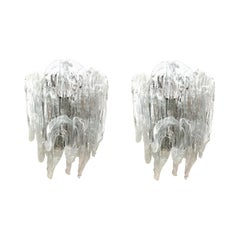 Pair of Italian Midcentury Clear White Murano Wall Sconces by Mazzega, 1970s