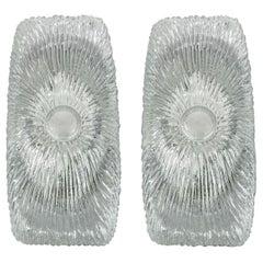 Pair of Italian Midcentury Design Murano Ice Glass Wall Lights Sconces, 1960