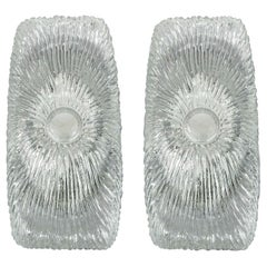 Pair of Italian Midcentury Design Murano Ice Glass Wall Lights Sconces, 1960
