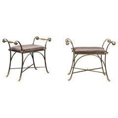 Pair of Italian Midcentury Directoire Style Steel and Brass Stools with Cushions