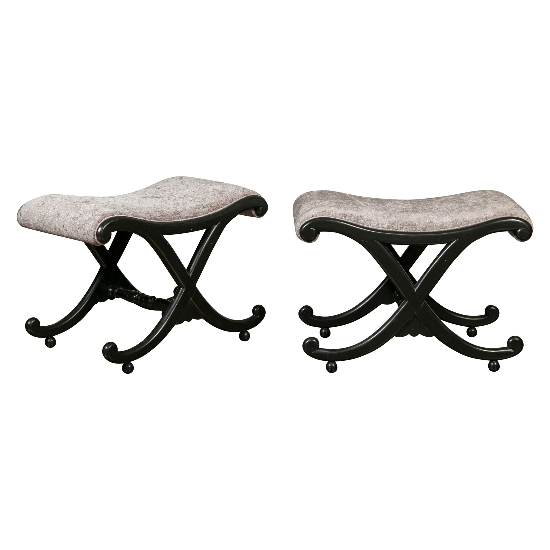 Pair of Italian Midcentury Ebonized Wood X-Form Stools with Grey Upholstery