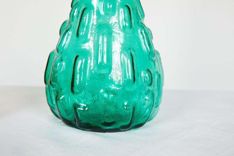 Pair of Italian Midcentury Empoli Glass Genie Decanters For Sale 4