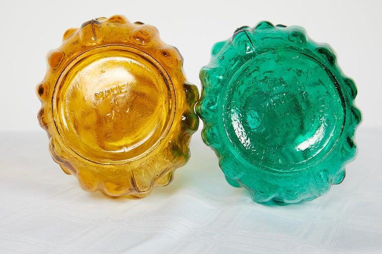 Pair of Italian Midcentury Empoli Glass Genie Decanters For Sale 8