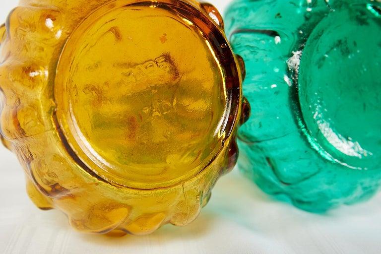 Pair of Italian Midcentury Empoli Glass Genie Decanters For Sale 10