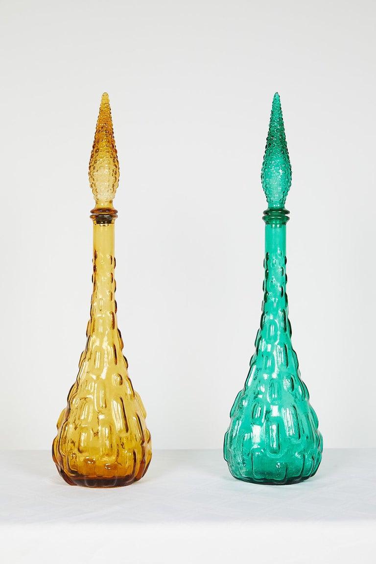 Pair of Italian Midcentury Empoli Glass Genie Decanters In Good Condition For Sale In Atlanta, GA