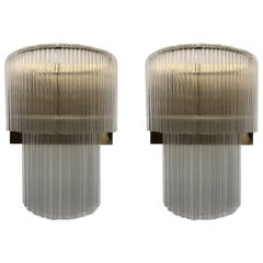 Pair of Italian Midcentury Glass Rod and Gold Brass Wall Sconces, 1970s