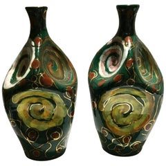Pair of Italian Midcentury Glazed Terra Cotta Vases