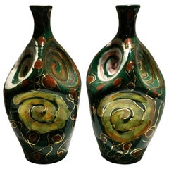 Pair of Italian Midcentury Glazed Terracotta Vases