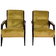 Pair of Italian Midcentury Green Upholstered Armchairs by Gio Ponti, 1950s