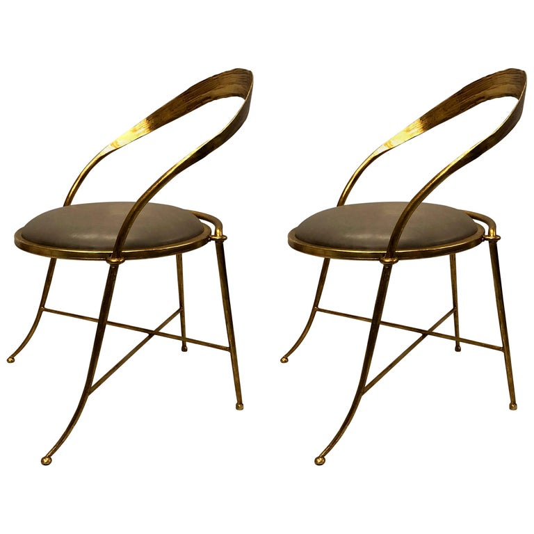 Pair of Italian Midcentury Handmade Gilt Iron Lounge Chairs by Giovanni Banci For Sale
