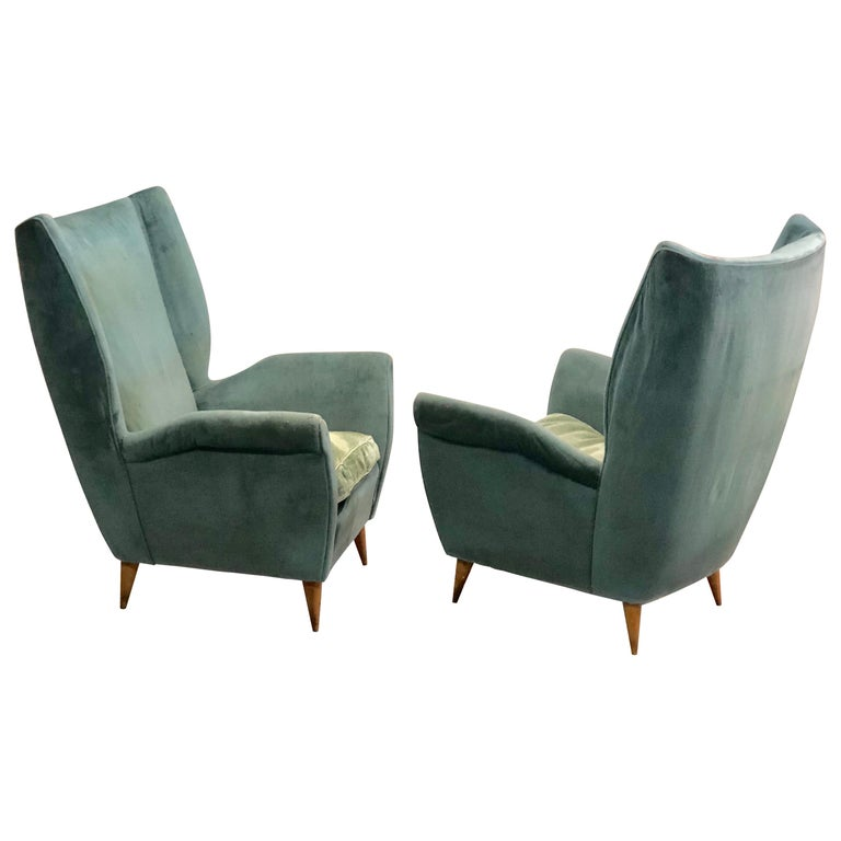 Pair of Italian Midcentury Hi Back Lounge Chairs / Armchairs by Gio Ponti, 1955 For Sale