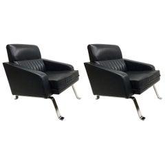 Pair of Italian Midcentury Lounge Chairs, Ignazio Gardella, Diagramma Style