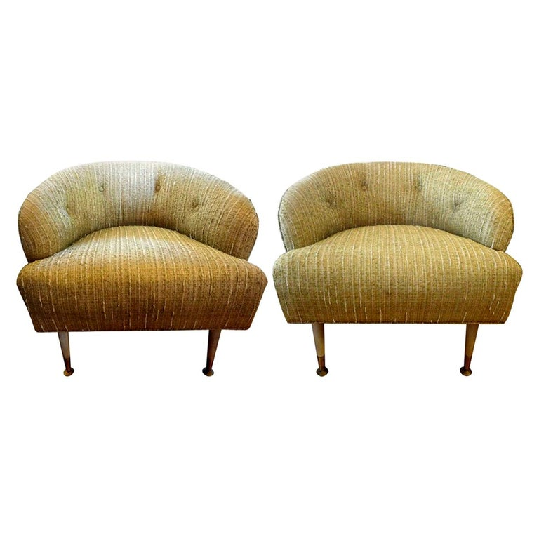 Pair of Italian Midcentury Lounge Chairs Inspired by Gio Ponti For Sale
