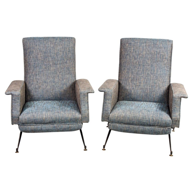Pair of Italian Midcentury Lounge Chairs with New Tweed Upholstery For Sale