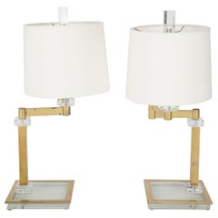 Pair of Italian Midcentury Lucite and Brass Adjustable Swing Lamps