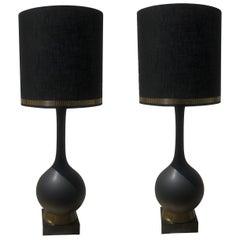 Pair of Italian Midcentury Matte Black Ceramic and Brass Lamps