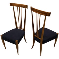 Pair of Italian Midcentury Modern Walnut Side Chairs, Circle of Gio Ponti