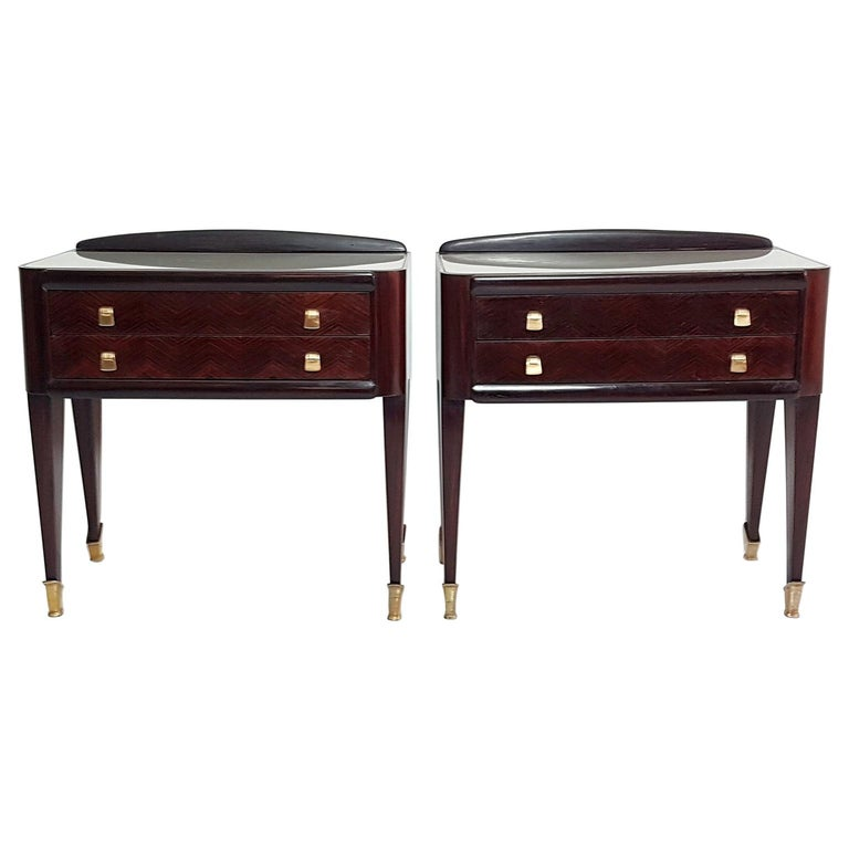 Pair of Italian Midcentury Nightstands in Mahogany and Brass For Sale