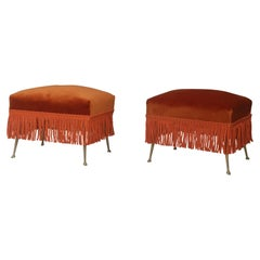 Pair of Italian Midcentury Ottoman Velvet and Brass