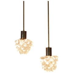 Pair of Italian Midcentury Pendants with Cutted Crystal Gemme, Milano, 1970s
