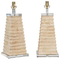 Pair of Italian Midcentury Pyramidal Shaped Fragment Table Lamps with Lucite