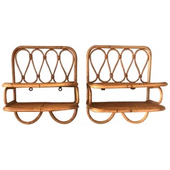 Pair of Italian Midcentury Rattan Bedside-Tables/ Wall-Mounted Shelves