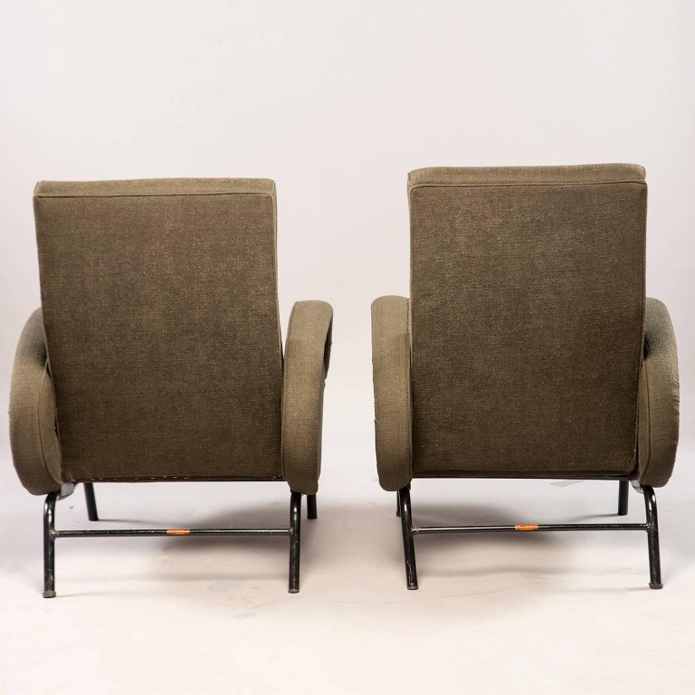 Pair of Italian Midcentury Reclining Chairs in the Manner of Marco Zanuso In Good Condition For Sale In Troy, MI