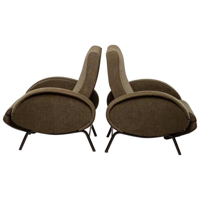 Pair of Italian Midcentury Reclining Chairs in the Manner of Marco Zanuso For Sale