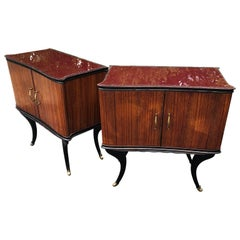 Pair Of Italian Mid-Century Red Glass-top Bed Side Tables On Brass-Capped Feet