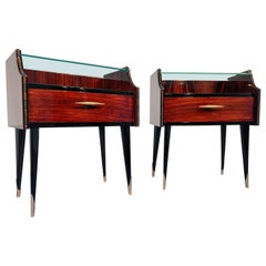 Pair of Italian Midcentury Teak Nightstands with Double Glass, 1960s