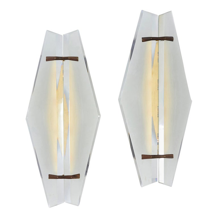 Pair of Italian Midcentury Sconces Attributed to Max Ingrand for Fontana Arte For Sale