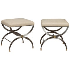 Pair of Italian Midcentury Steel Curule Stools with Brass Accents and Upholstery