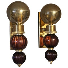 Pair of Italian Midcentury Style Grey and Purple Murano Sconces