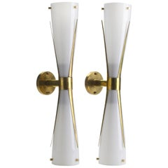 Pair of Italian Midcentury Style Murano Glass and Brass Wall Sconces