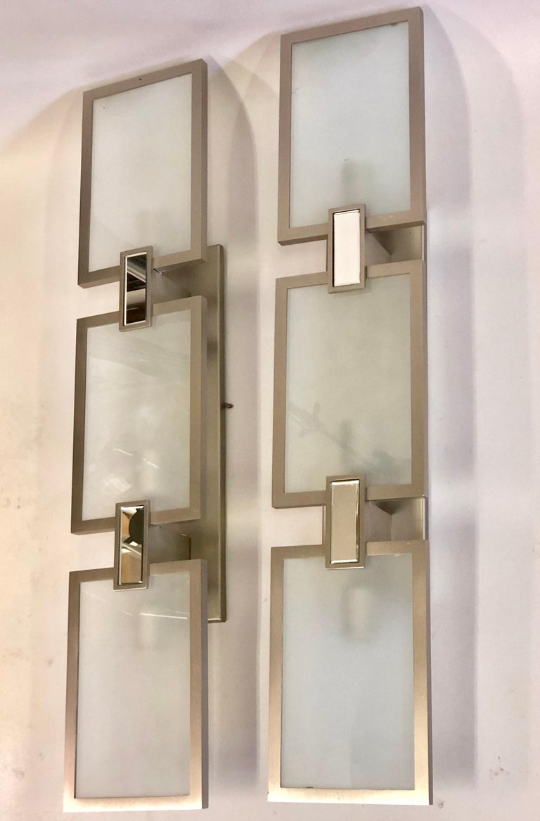Pair of Italian Midcentury Style Nickel and Frosted Glass Sconces / Flush Mounts In Good Condition For Sale In New York, NY