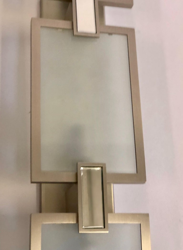 Pair of Italian Midcentury Style Nickel and Frosted Glass Sconces / Flush Mounts For Sale 2