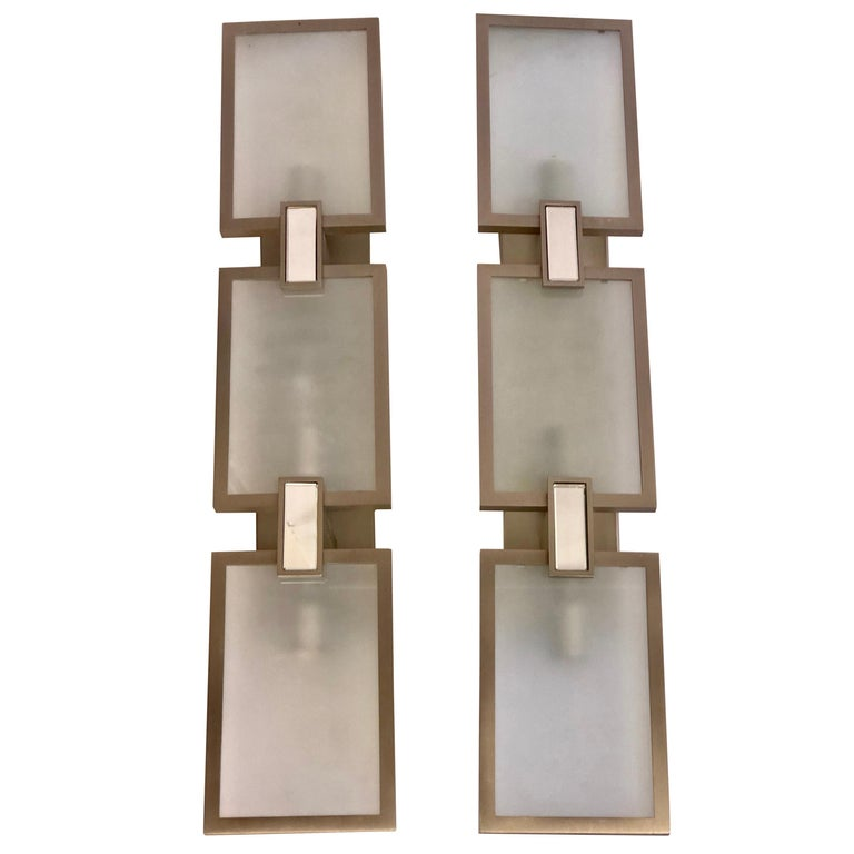 Pair of Italian Midcentury Style Nickel and Frosted Glass Sconces / Flush Mounts For Sale