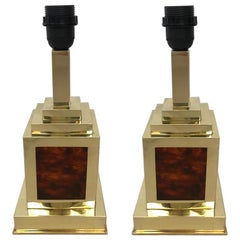 Pair of Italian Midcentury Tortoiseshell Lucite and Brass Table Lamps, 1970s