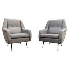 Pair of Italian Midcentury Tufted Chairs by Ico Parisi in Grey Flannel