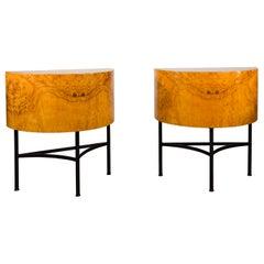 Pair of Italian Midcentury Walnut Demilune Tables on Custom Iron Bases