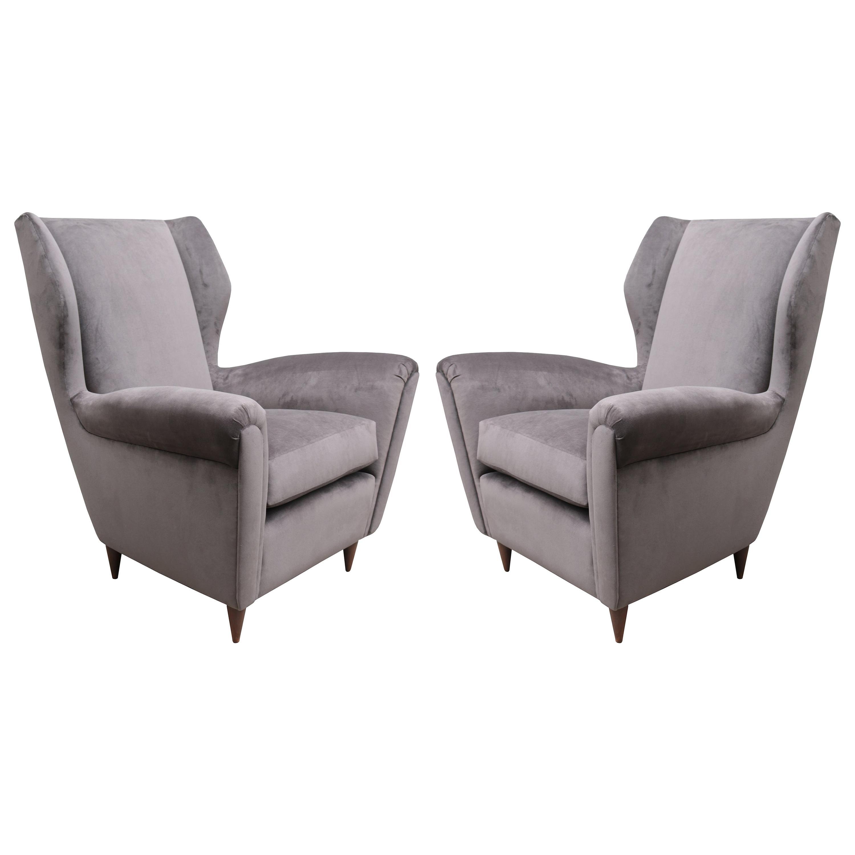 Pair of Italian Midcentury Wing Chairs