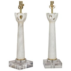 Pair of Italian Midcentury Wired Alabaster Table Lamps Mounted on Lucite Bases