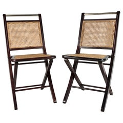 Pair of Italian Midcentury Wood, Brass and Rattan Folding Chairs