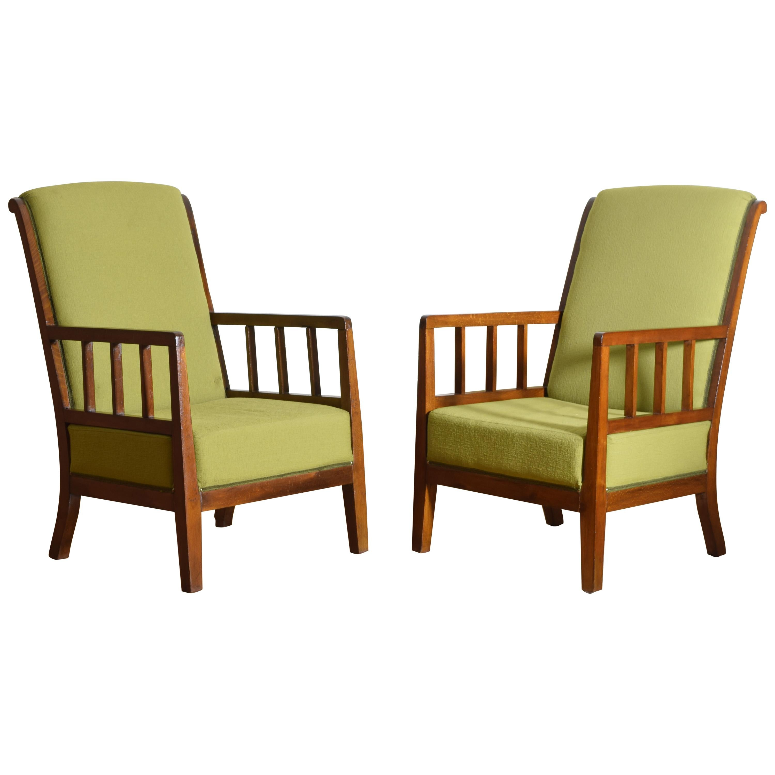 Pair of Italian Midcentury Wooden and Upholstered Armchairs, circa 1950