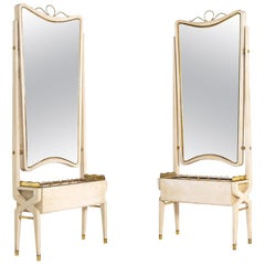 Pair of Italian Mirror Attributed to Pietro Lingeri, Brass and White Wood, 1940