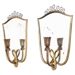 Pair of Italian Mirror Wall Lights in the Manner of Gio Ponti